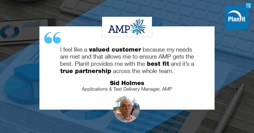 Sid Holmes, Applications & Test Delivery Manager, AMP