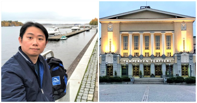 Melanio sitting on a bench near a river in Finland and the Tampere Theatre in Tampere
