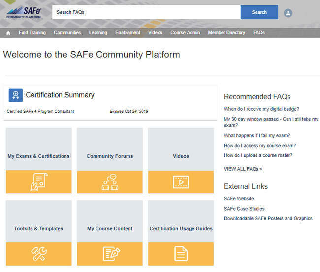 Figure 3: My SAFe community platform