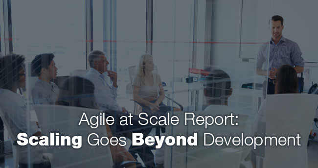 A man standing in front of a group of seven people sitting in chairs in an office meeting room. Title: Agile at Scale Report: Scaling Goes Beyond Development