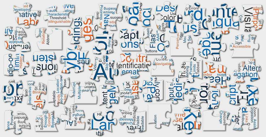 Word cloud displayed in separated puzzle pieces, conveying the idea that WCAG is like a separated jigsaw puzzle.