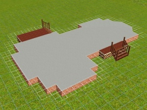 Computer generated image of house foundation (bricks, concrete and stairs).