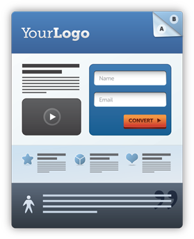 Sample design outlining the appearance of a web page, including a logo, text content, a video, input fields for name and email with a convert button below. Image and text content are included at the base of the design.