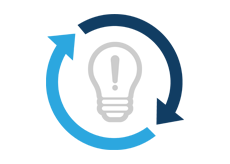 Light bulb icon containing an exclamation mark surrounded by circular arrows
