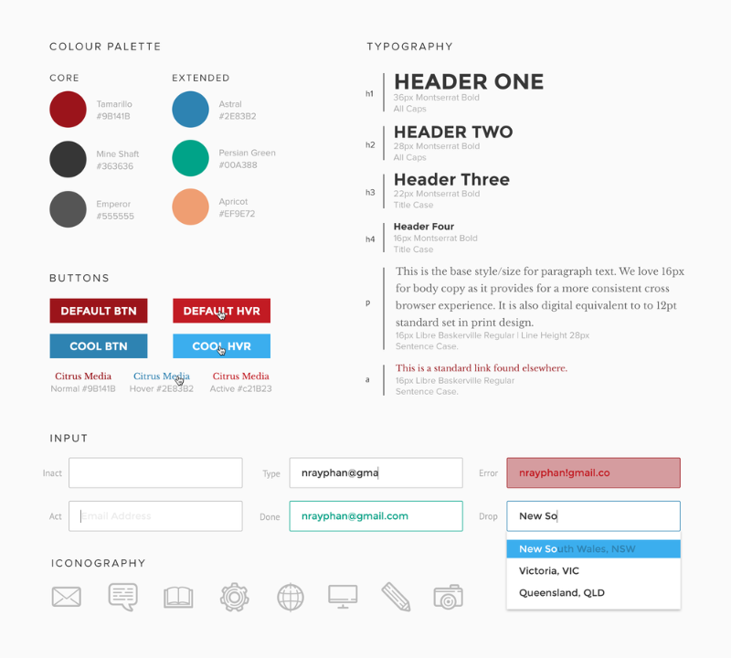 Sample style guide outlining colour palette, typography, buttons, input fields and iconography