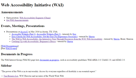 Web Accessibility Initiative (WAI) home page with Style sheets turned off.