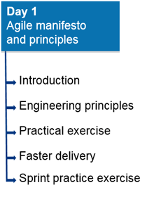 Day 1: Agile Manifesto and Principles. a) Introduction; b) Engineering principles; c) Practical exercise; d) Faster delivery; e) Sprint practice exercies.