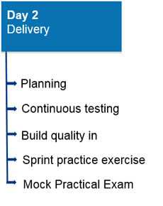 Day 2: Delivery. a) Planning; b) Continuous testing; c) Build quality in; d) Sprint practice exercise; e) Mock practical exam.