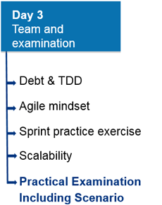 Day 3: Team and examination. a) Debt & TDD; b) Agile mindset; c) Sprint practice exercise; d) Scalability; e) Practical Examination including Scenario.